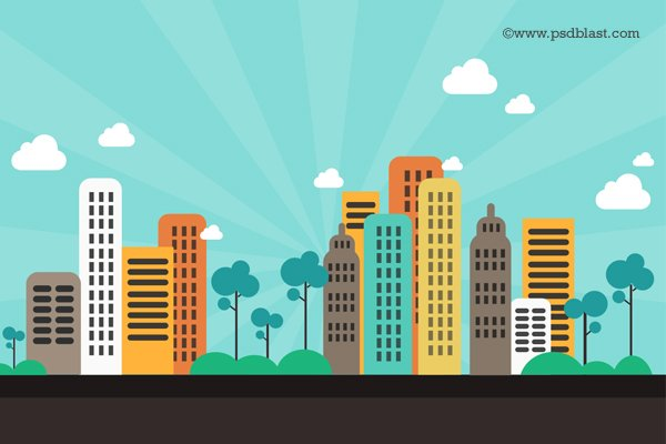 600x400 Free Flat Color Abstract City Background (Psd) Psd Files, Vectors