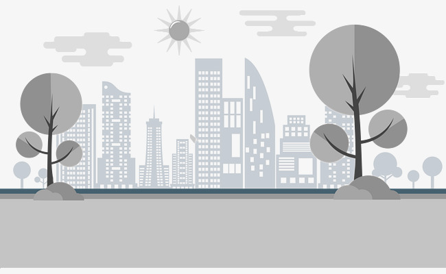 650x400 Gray Silhouettes City Background Vector, City Vector, City
