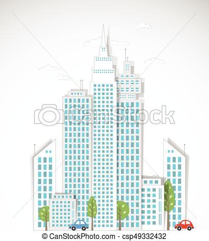 407x470 Modern City Background. Vector.