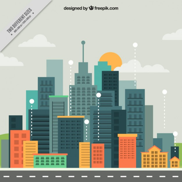 626x626 Modern City In Flat Design Background Vector Free Download