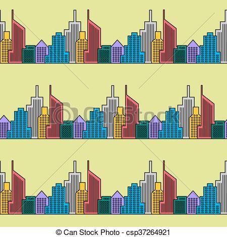 450x470 Seamless City Background. Skyline Skyscrapers Design Retro.