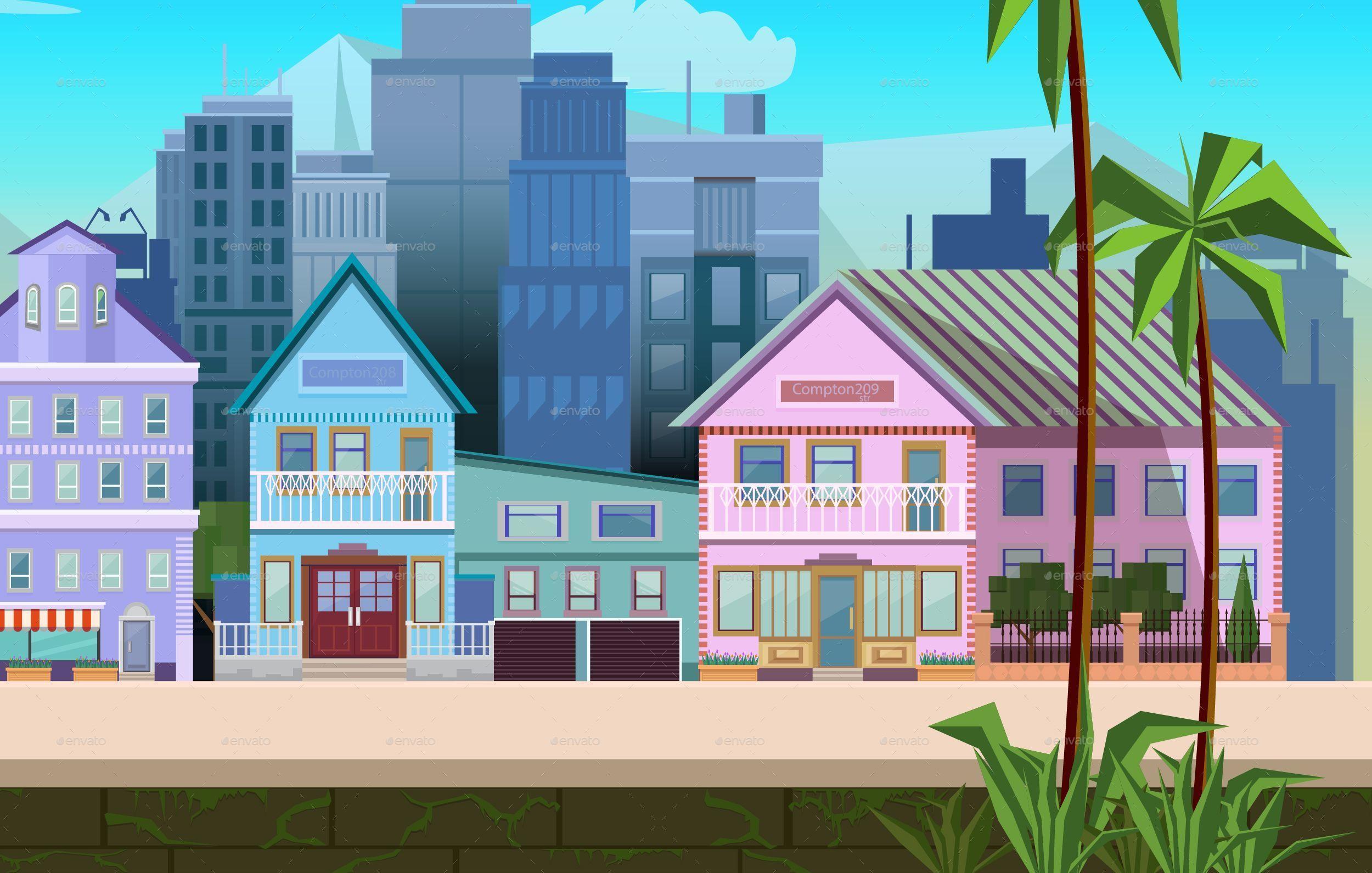 2500x1591 Sunny California City Game Background Vector By Vitaliyvill