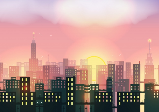 626x441 Sunset In The City Background Vector Free Download