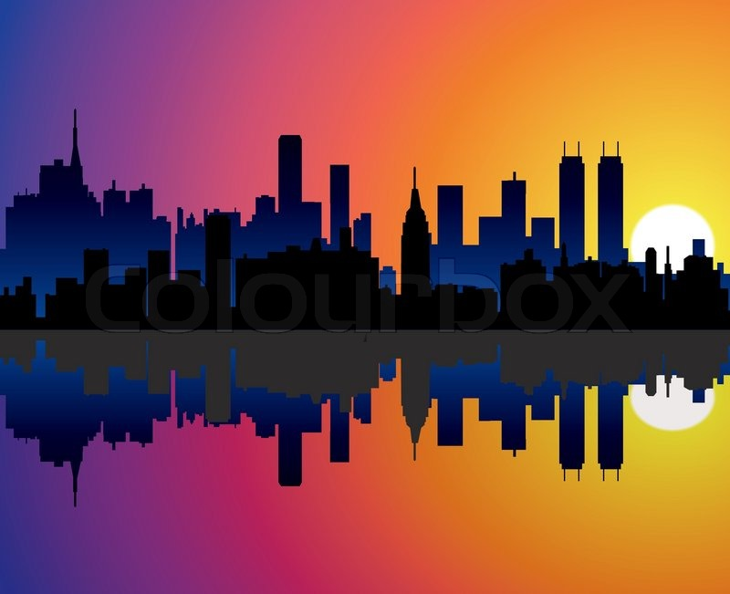 800x651 Vector City Background With Reflection In Water Stock Vector