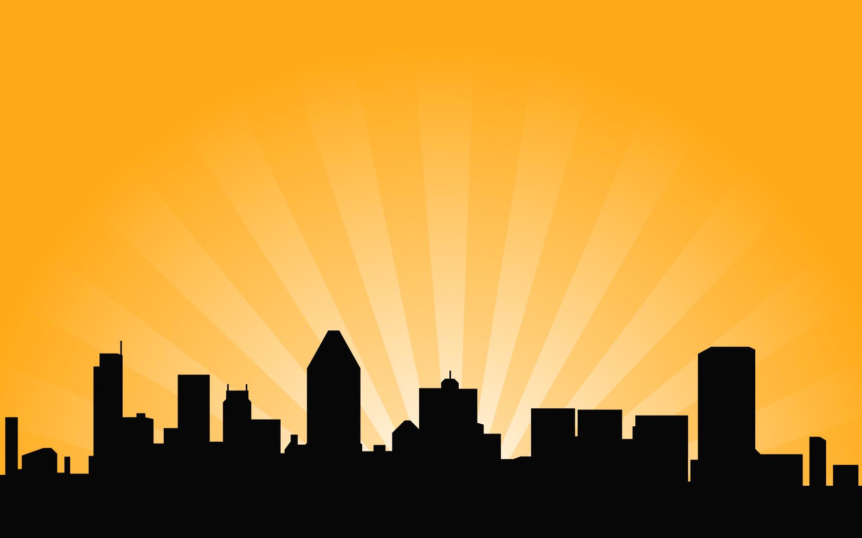 1680x1050 City Skyline Vector Background
