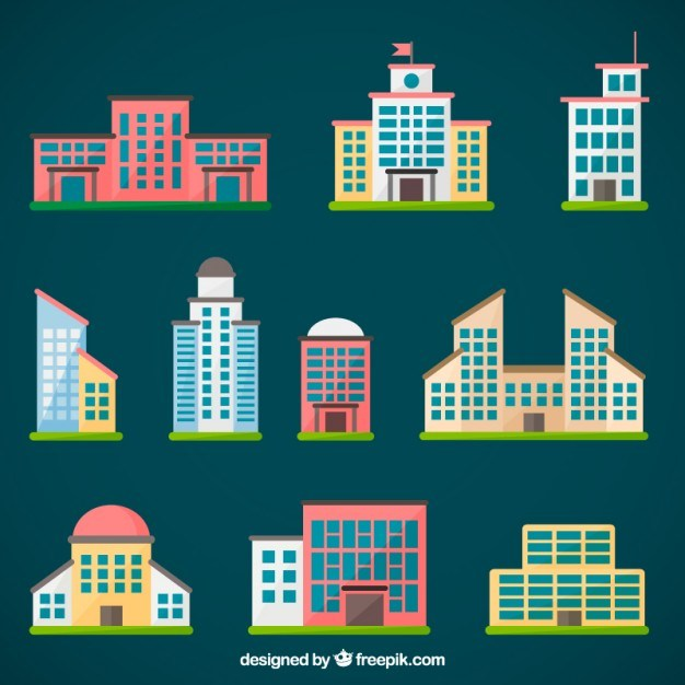 626x626 City Buildings Collection Free Vector 123freevectors