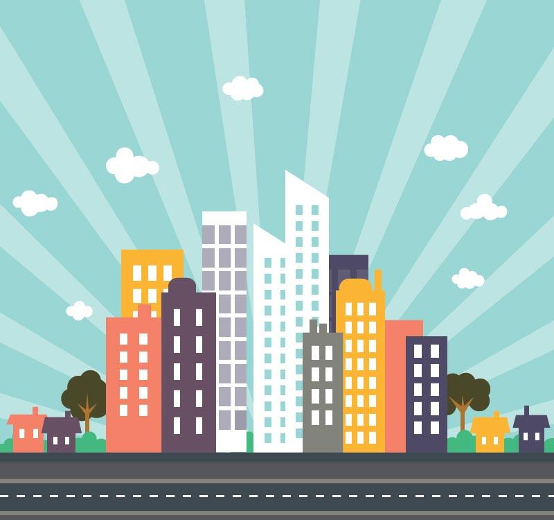 800x750 City Buildings Flat Vectors Design