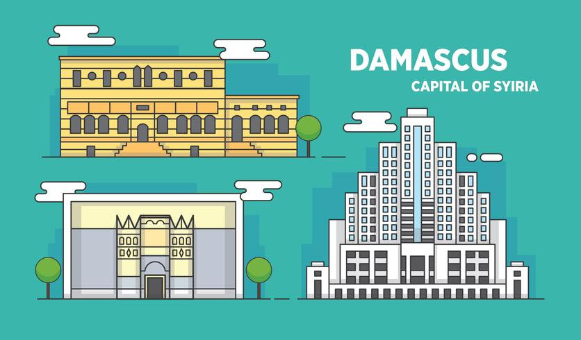 836x490 Damascus Landmark City Building Vector Illustration