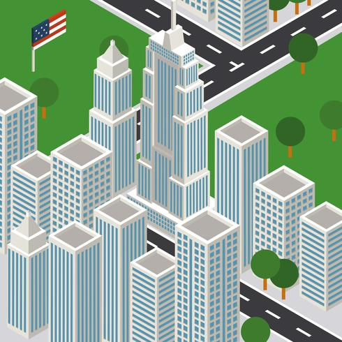 490x490 New York City Isometric Empire State Building Vector