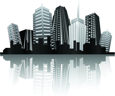 388x323 Black With White City Building Design Vector Png Images