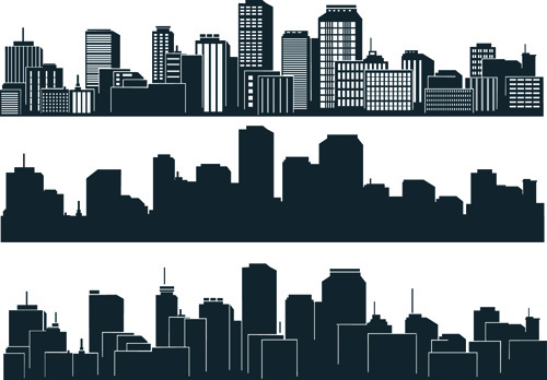 500x348 Black With White City Building Design Vector Free Vector In
