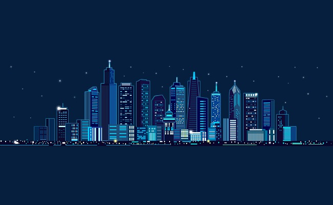 650x400 Blue City Building Vector, Blue, Building, Starry Sky Png And
