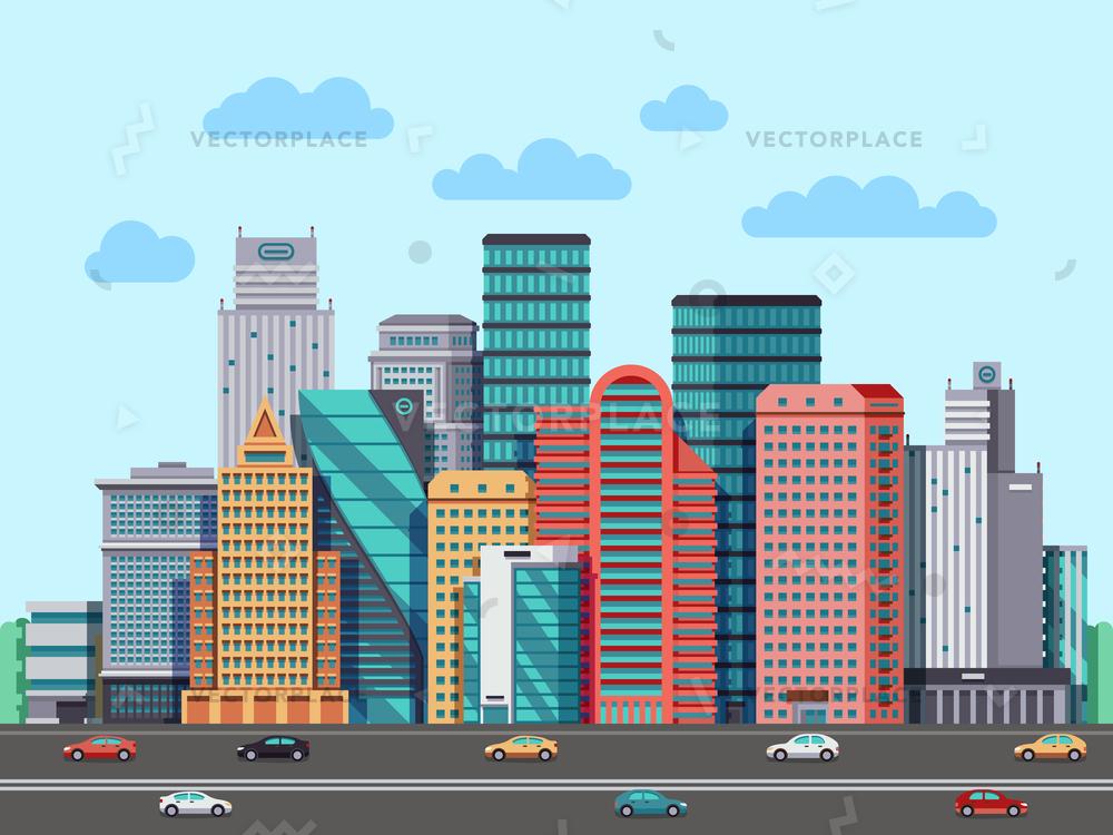 1000x750 City Buildings Panorama Urban Architecture Cityscape Vector
