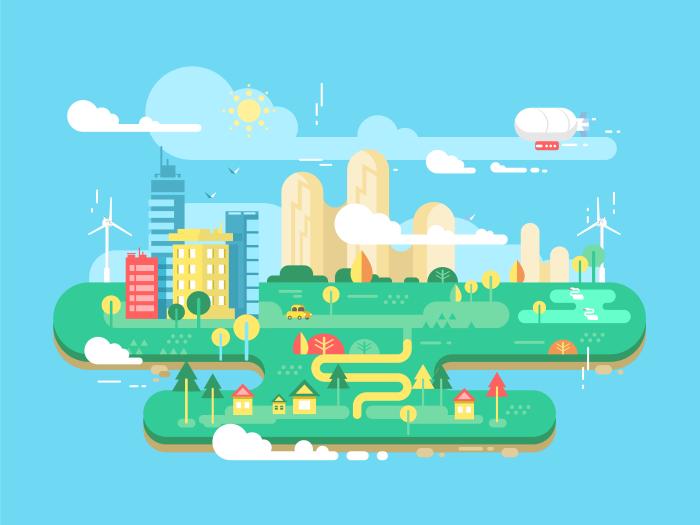 700x525 Green City Flat Illustration
