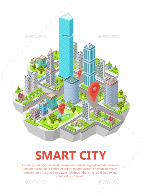 590x801 Isometric Smart City Vector Illustration 3d By Vectorpouch