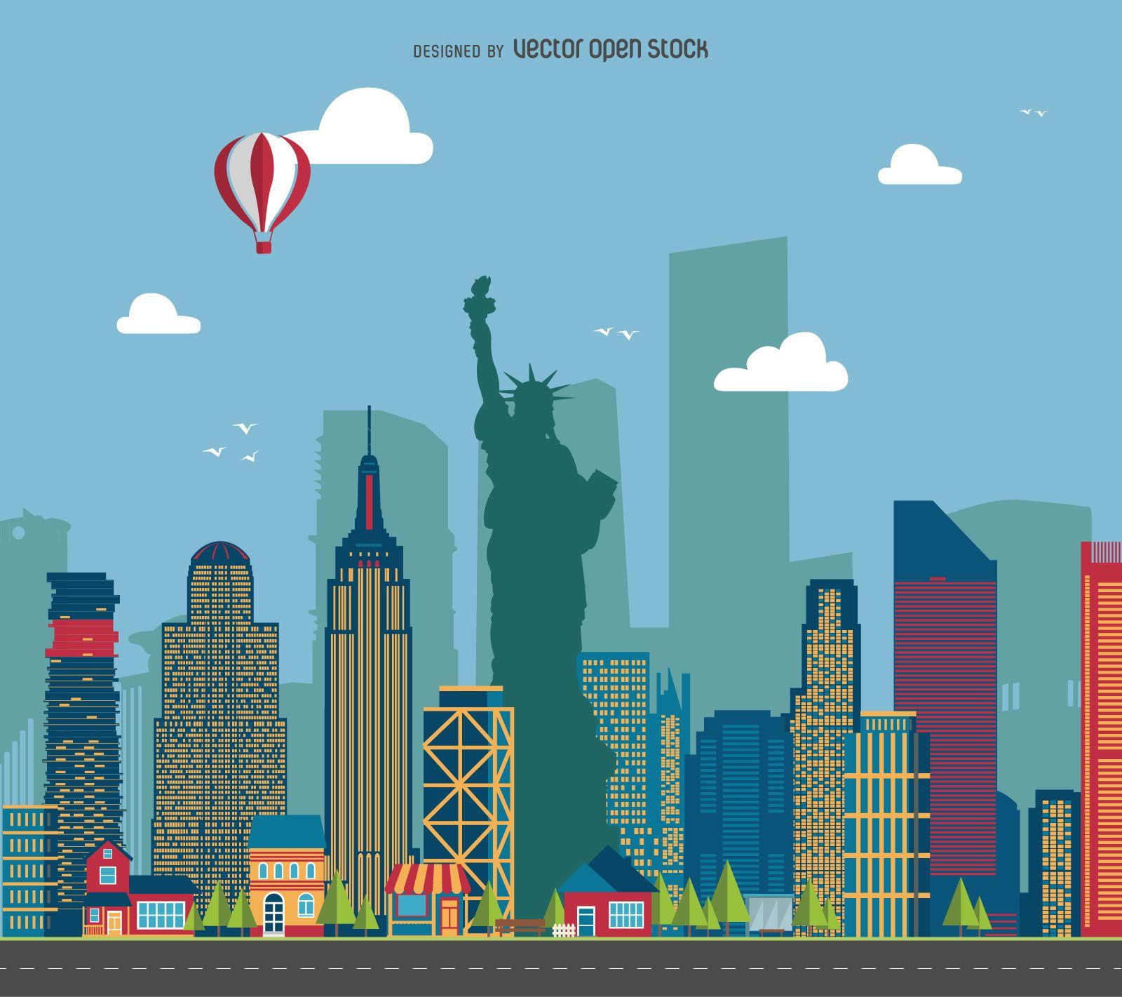1600x1421 New York Cityscape Illustration