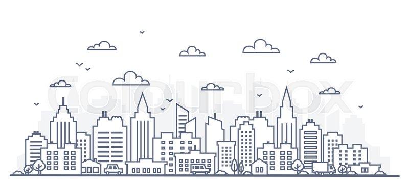 800x369 Thin Line Style City Panorama. Illustration Of Urban Landscape