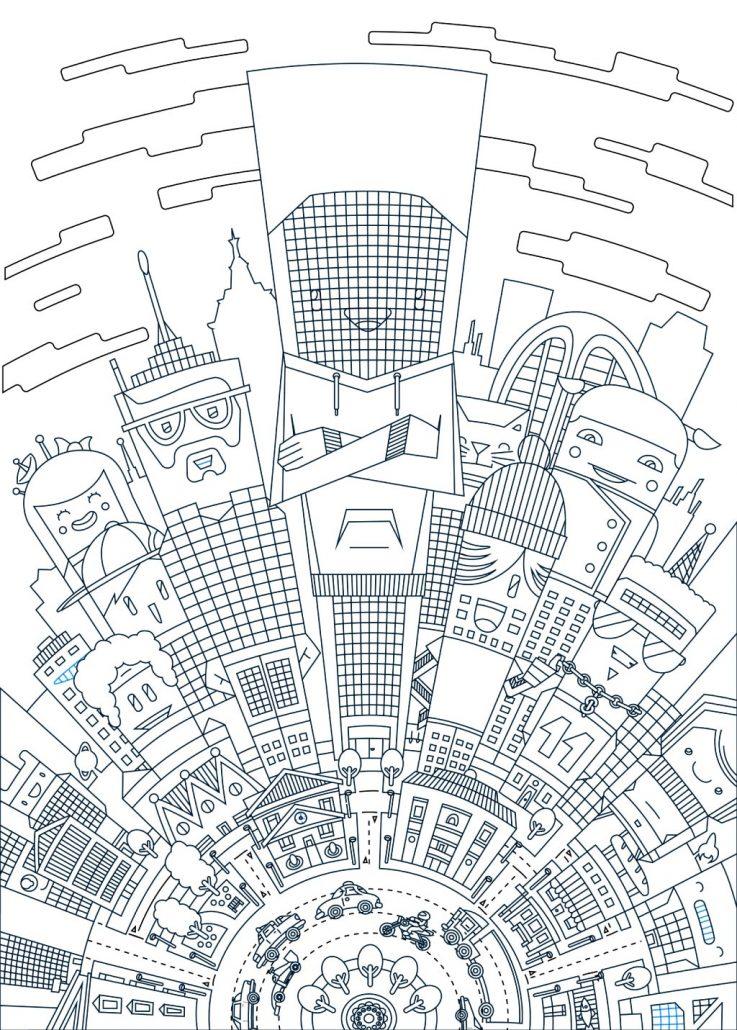737x1030 Vector Cartoon City Illustration For Boks Clothing, Thetoonplanet