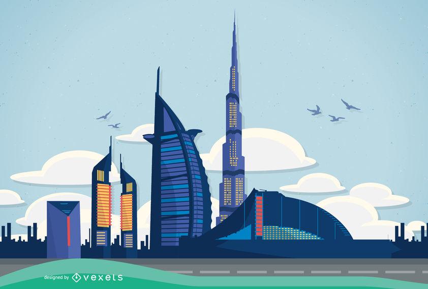 842x570 Vector Dubai Illustration