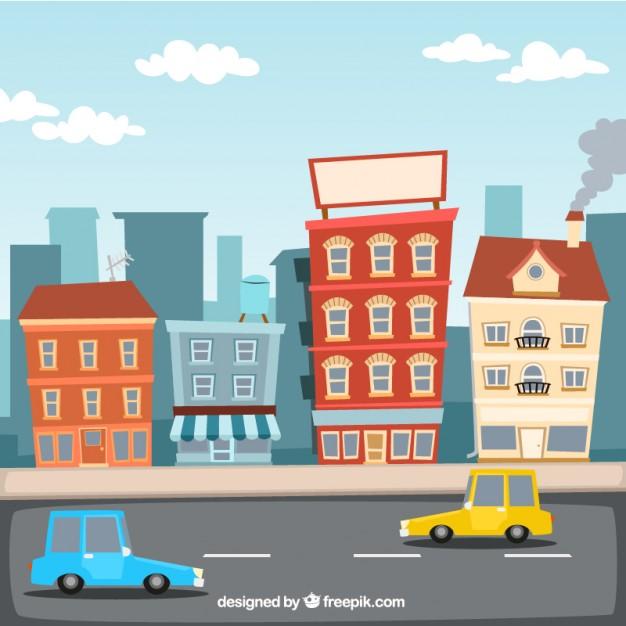 626x626 Cartoon City Illustration Vector Free Download