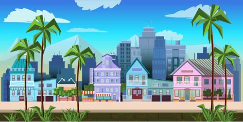 500x251 City Building Landscape Vector Graphic 05 Free Download