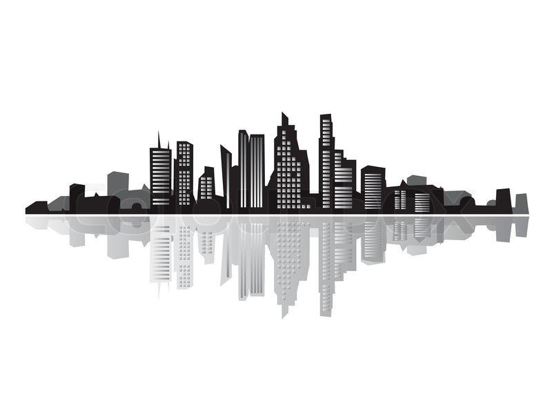 800x600 City Landscape, Silhouettes Of Houses Black Stock Vector Colourbox