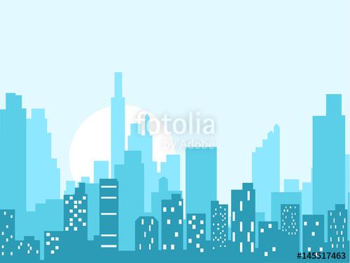500x375 City Skyline Vector Illustration. Urban Landscape. Blue City