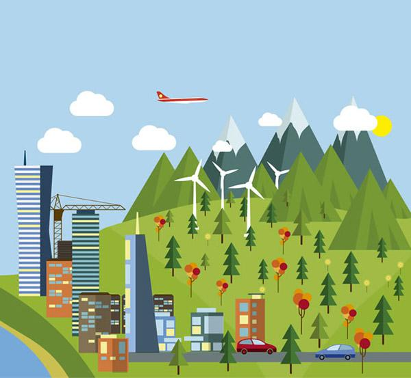 600x553 Environmental Protection City Landscape Vector Picture [Ai]