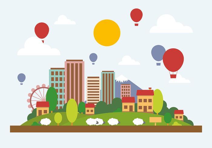 700x490 Flat City Landscape Vector Illustration