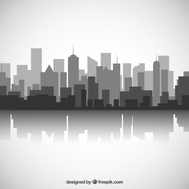 626x626 Black And White City Skyline Vector Free Download