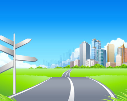 411x328 Green City Landscape Vector