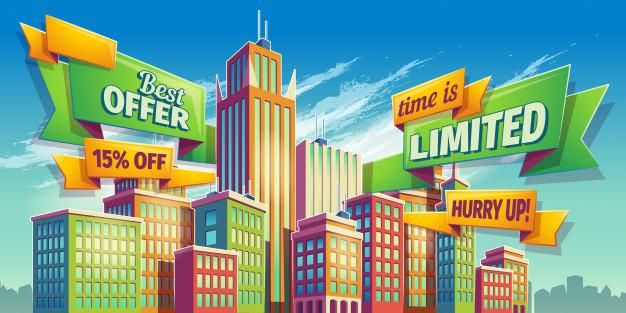 626x313 Horizontal Cartoon Illustration, Banner, Urban Background With