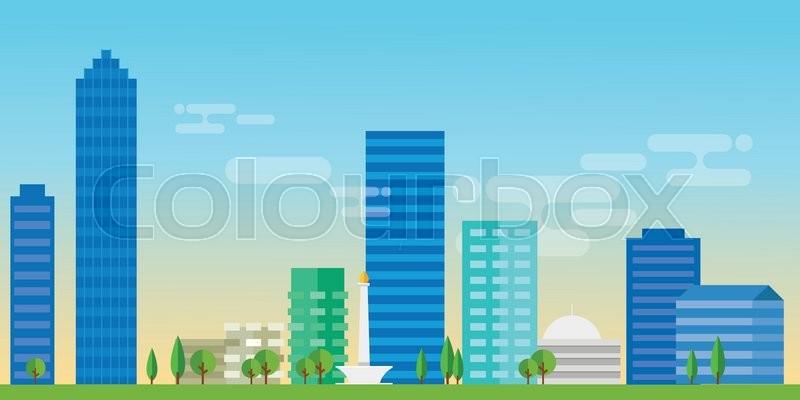 800x400 Jakarta Indonesia City Skyline Vector Illustration Landscape