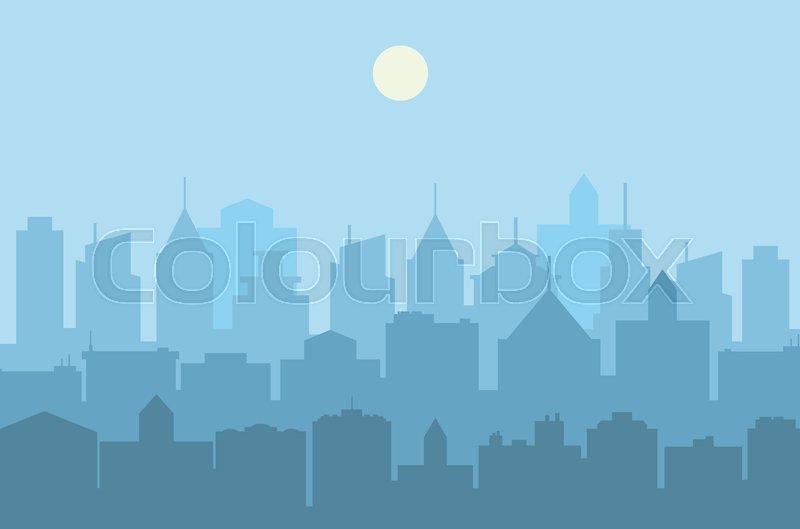 800x529 Modern City Skyline . Urban Landscape. Blue City Silhouette