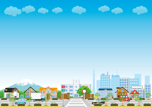 500x354 Modern City Landscape Vector Template 03 Free Download