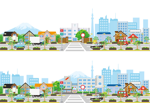 500x342 Modern City Landscape Vector Template 05 Free Download