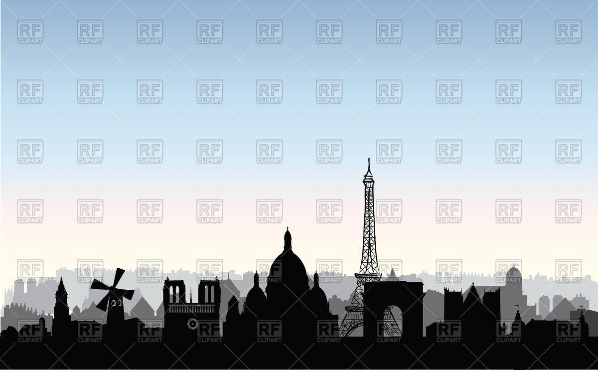 1200x742 Paris City Skyline. French Urban Landscape. Vector Image Vector