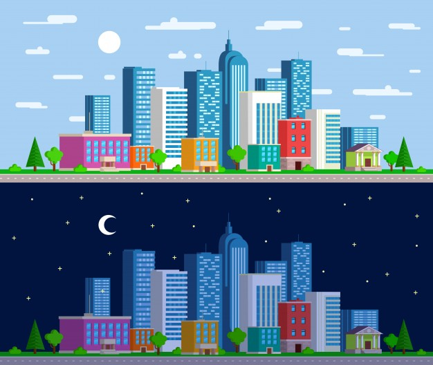 626x528 Set Of Wide Panoramas The Urban Landscape Vector Free Download