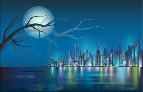 500x322 Shiny Night City Landscape Vector Free Vector In Encapsulated