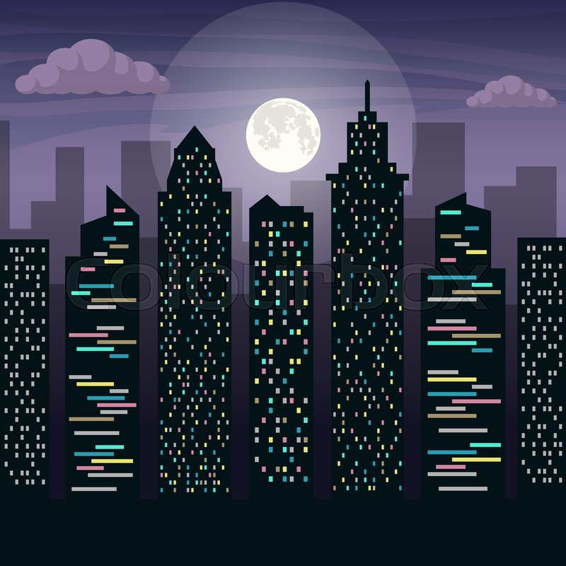 800x800 The Skyscrapers Of The Big City In Moonlight. Night City Landscape