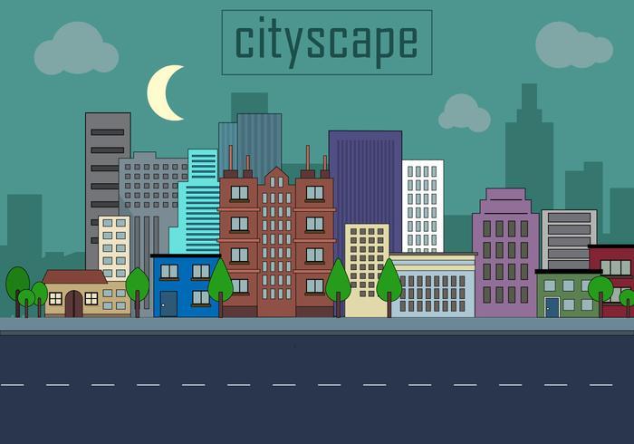 700x490 Urban Landscape Vector Illustration