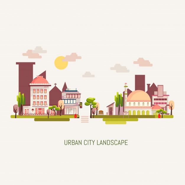 626x626 Urban City Building Landscape Vector Illustration Vector Premium