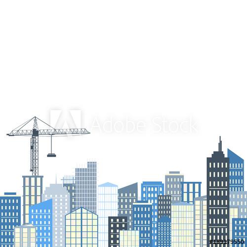 500x500 Urban Landscape. Vector Illustration. City Background, Grey And