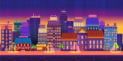 500x250 City Building Landscape Vector Graphic 04 Free Download