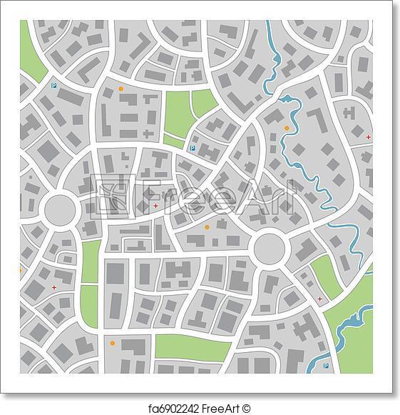 561x581 Free Art Print Of City Map . Vector City Map Freeart Fa6902242