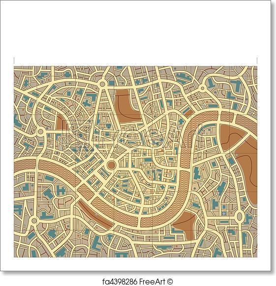 561x581 Free Art Print Of Nameless City Map. Editable Vector Illustration