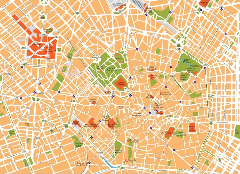 950x692 Milan A City Map. Illustrator Eps Vector Maps