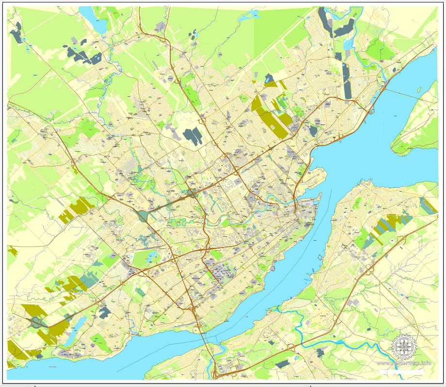 919x796 Quebec City Map, Canada, Printable City Plan V.3.09 Adobe