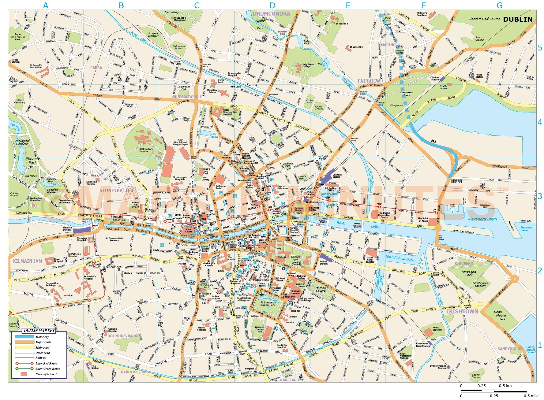 1777x1308 Royalty Free Dublin City Map In Illustrator And Pdf Vector Format