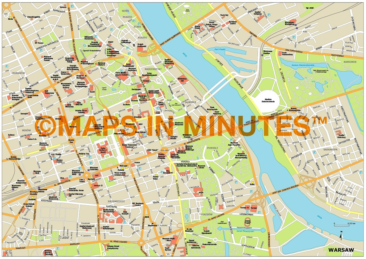 1205x854 Royalty Free Warsaw Illustrator Vector Format City Map